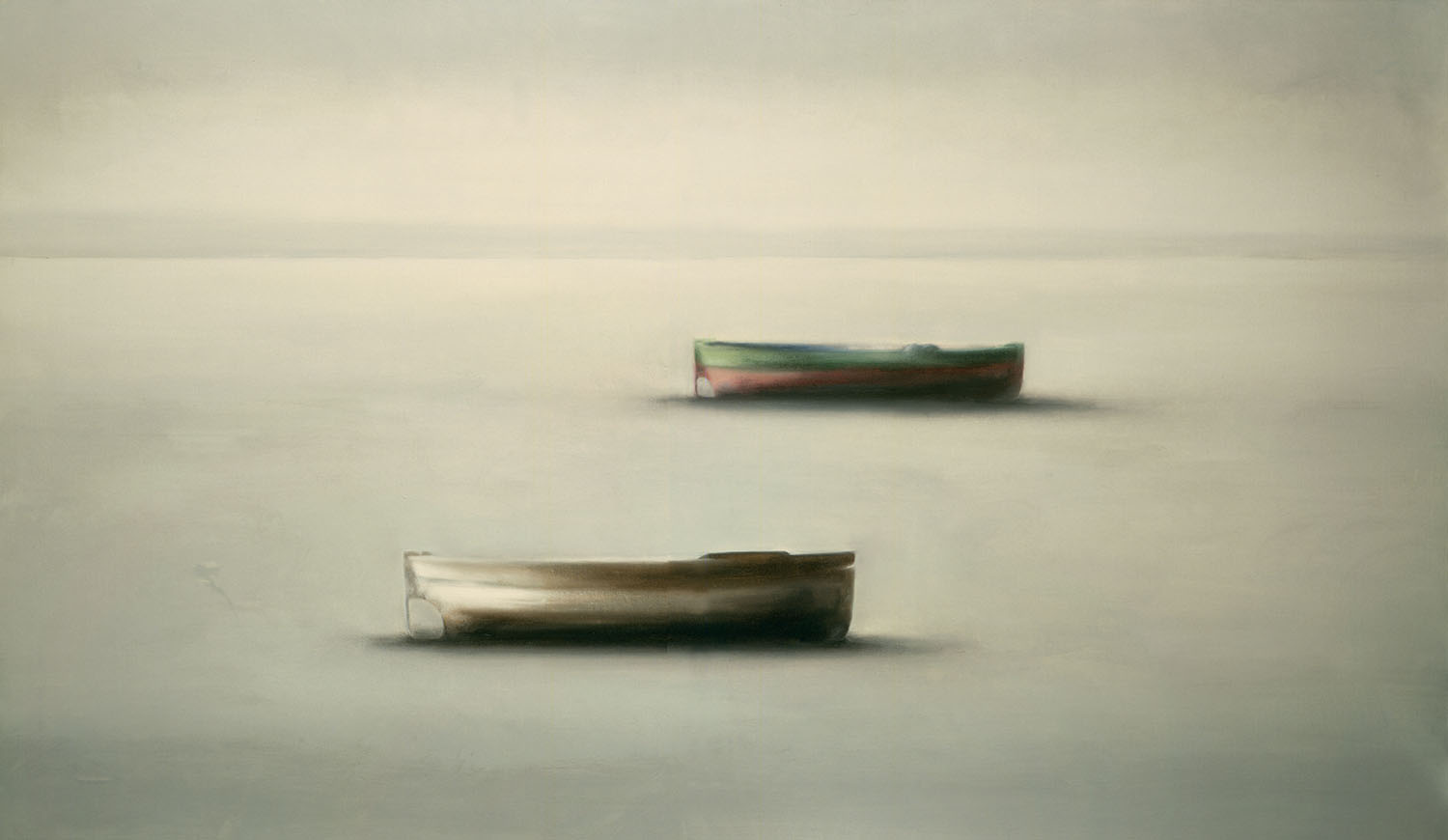 Boats, 1987, oil on canvas, cm 97 x 195
