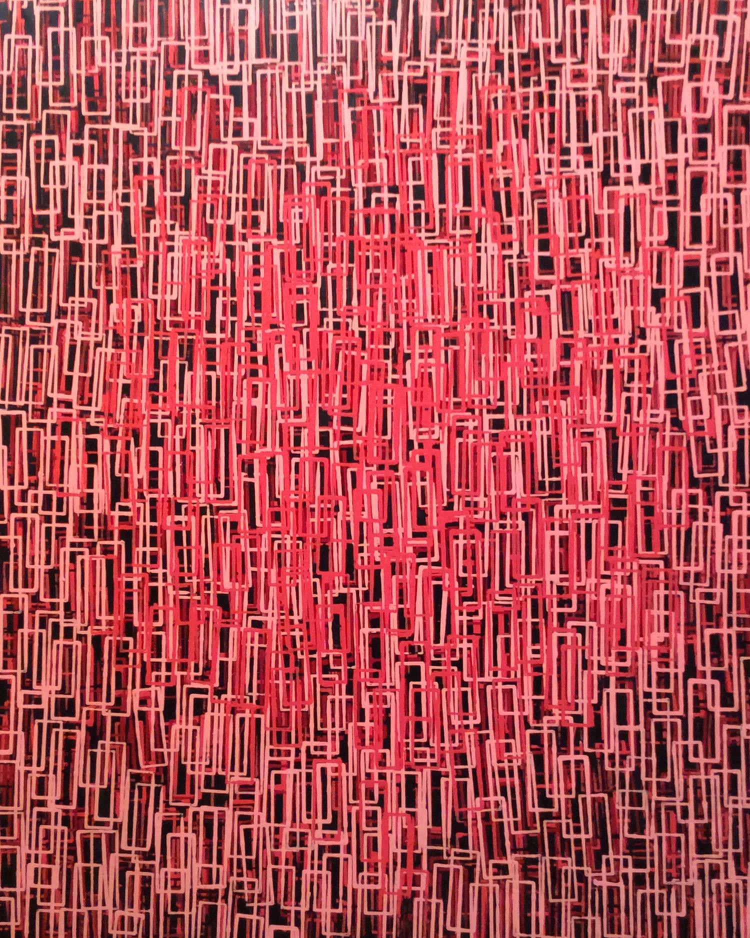 Josep Navarro Vives. Composición óptica-cinètica. 1975, oli sobre tela, cm 150 x 150.